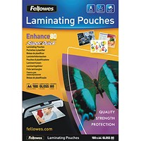 Fellowes A4 Quick Laminating Pouches, Thin, 160 Micron, Glossy, Pack of 100