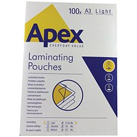 Fellowes Apex A3 Light Laminating Pouches Clear (Pack of 100)