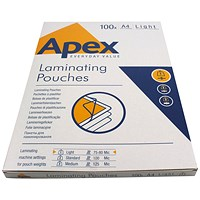 Fellowes Apex A4 Light Laminating Pouches Clear (Pack of 100)
