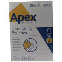 Fellowes Apex A4 Medium Laminating Pouches Clear (Pack of 100)