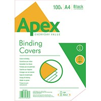 Fellowes Apex Binding Covers, 230gsm, Leathergrain, Black, A4, Pack of 100