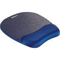 Fellowes Memory Foam Mouse Pad Wrist Support Sapphire Blue