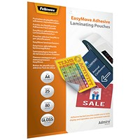 Fellowes Admire EasyMove A4 Laminating Pouches (Pack of 25)
