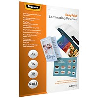 Fellowes Admire EasyFold A4 Laminating Pouches (Pack of 25)