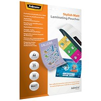 Fellowes Admire A4 Laminating Pouches Matte (Pack of 25)