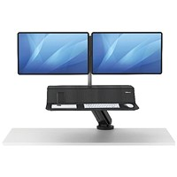 Fellowes Lotus Sit Stand Work Station Dual Screen Black