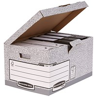 Fellowes Bankers Box System Flip Top Storage Boxes, Grey, Pack of 10