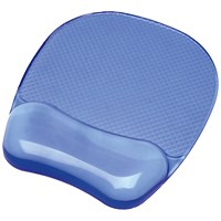 Fellowes Crystal Mouse Mat Pad with Wrist Rest, Gel, Blue