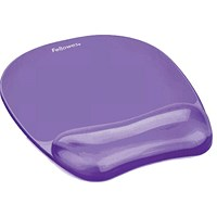 Fellowes Crystal Mouse Mat Pad with Wrist Rest, Gel, Purple