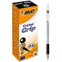 Bic Cristal Grip Ball Pen, Clear Barrel, Black, Pack of 20