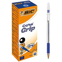Bic Cristal Grip Ball Pen, Clear Barrel, Blue, Pack of 20