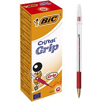 Bic Cristal Grip Ball Pen, Clear Barrel, Red, Pack of 20
