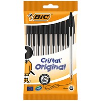 Bic Cristal Ballpoint Pen Medium Black (Pack of 10) 830864