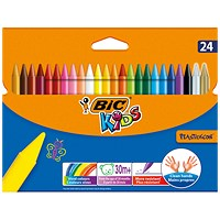 Bic Kids Plastidecor Crayons, Long-lasting, Sharpenable, Vivid Assorted Colours, Pack of 24