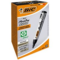 Bic Marking 2000 Permanent Marker, Bullet Tip, Black, Pack of 12