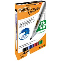 Bic Velleda 1701 Whiteboard Marker, Bullet Tip, Assorted Colours, Pack of 4