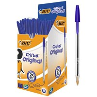 Bic Cristal Ball Pen, Clear Barrel, Blue, Pack of 50
