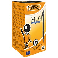 Bic M10 Clic Ball Pen Retractable, Black, Pack of 50