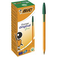 Bic Orange Fine Ballpoint Pen Green (Pack of 20)