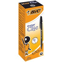 BIC Cristal Clic Ball Pen, Retractable, Medium Point, Black, Pack of 20
