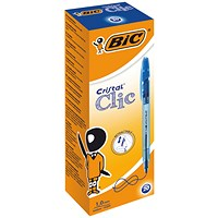 BIC Cristal Clic Ball Pen, Retractable, Medium Point, Blue, Pack of 20