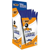 Bic Cristal Large Ballpoint Pen, Broad Nib, Blue, Pack of 50