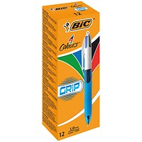Bic 4 Colours Comfort Grip Ballpoint Pen (Pack of 12)