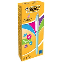 Bic 4-Colour Fashion Ball Pen, Pink Purple Turquoise Lime Green, Pack of 12