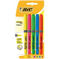 Bic Briteliner Grip Highlighter Pens, Chisel Tip, Assorted, Pack of 5