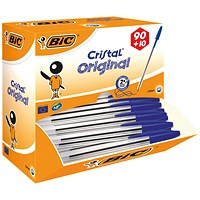 Bic Cristal Ball Pen, Clear Barrel, Blue, Pack of 100