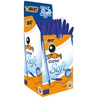 BIC Cristal Soft Ball Pen, Blue, Pack of 50