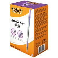 Bic Round Stic Grip Pen, 1.0mm Tip, 0.4mm Line, Purple, Pack of 40
