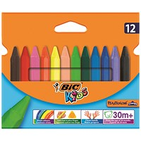 Bic Kids Plastidecor Triangle Crayons Assorted (Pack of 12)
