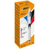 Bic 4 Colour Multifunction Ballpoint Pen with Pencil - Pack of 12