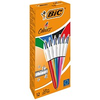 Bic 4 Colours Ballpoint Pens Medium Point Assorted (Pack of 12)