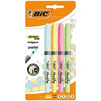 Bic Highlighter Grip Assorted Pastel (Pack of 4)