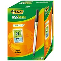 Bic Ecolutions Stic Recycled Ballpoint Pen, Slim, Black, Pack of 60