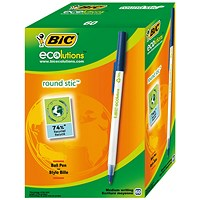 Bic Ecolutions Stic Recycled Ballpoint Pen, Slim, Blue, Pack of 60