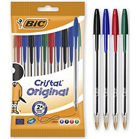 Bic Cristal Ball Pen, Assorted Colours, Pack of 10