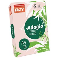Adagio Coloured Card - Pastel Pink, A4, 160gsm, Ream (250 Sheets)