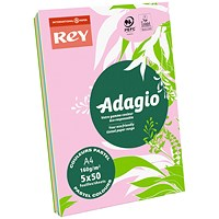 Adagio Coloured Card - Assorted Pastel Colours, A4, 160gsm, Ream (250 Sheets)