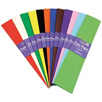 Bright Ideas Crepe Paper, 500mmx3m, Assorted, Pack of 12