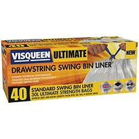 Visqueen Ultimate Drawstring Swing Bin Liner 30 Litre White (Pack of 40)
