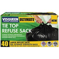 Visqueen Ultimate Tie Top Refuse Sack 80 Litre Black (Pack of 40)