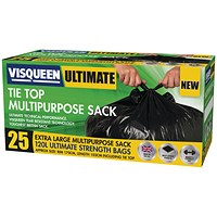Visqueen Ultimate Tie Top Multipurpose Sack 120 Litre Black (Pack of 25)