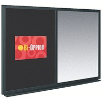 Bi-Office Combination Noticeboard / Felt & Magnetic Drywipe / W900xH600mm / Black