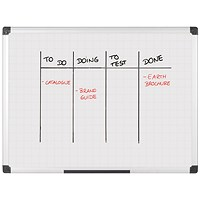 Bi-Office Maya Magnetic Whiteboard Gridded 1200x900mm