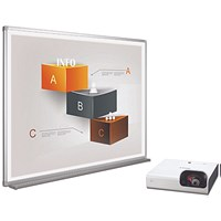 Bi-Office Bi-Bright 72in Whiteboard and Short Throw Projector Presentation Bundle