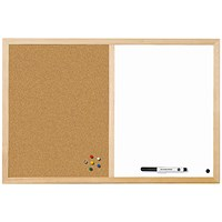 Bi-Office Cork and Drywipe Combination Board 900x600mm