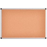 Bi-Office Aluminium Frame Cork Noticeboard 900x600mm